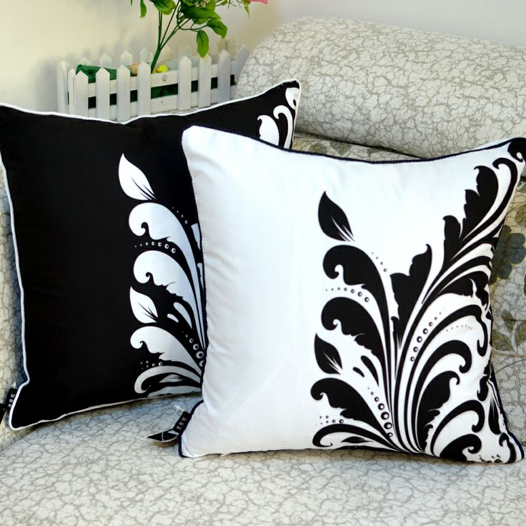 Black White Flower Cushion Cover