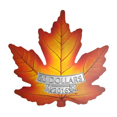 A new take on one of last year's most popular coins, this coin is in the shape of a maple leaf colourized to look like a leaf in autumn!