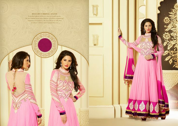 $86.00 Diva style deep pink & pink faux georgette net salwar kameez. The stunning butta work, dangler, lace, patch work, resham, stones, velvet patch work a considerable attribute of this dress.  http://www.sareeonline.com/proj/gallery/fullview.aspx?scode=brk092