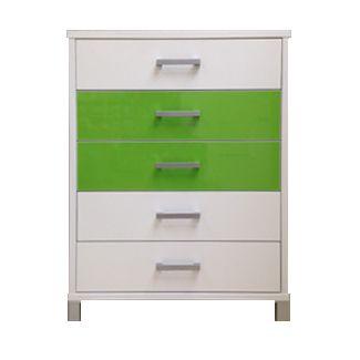 URBAN 5 Draw Tallboy (Snowdrift White), Drawer 2 and 3 (Green Gloss)