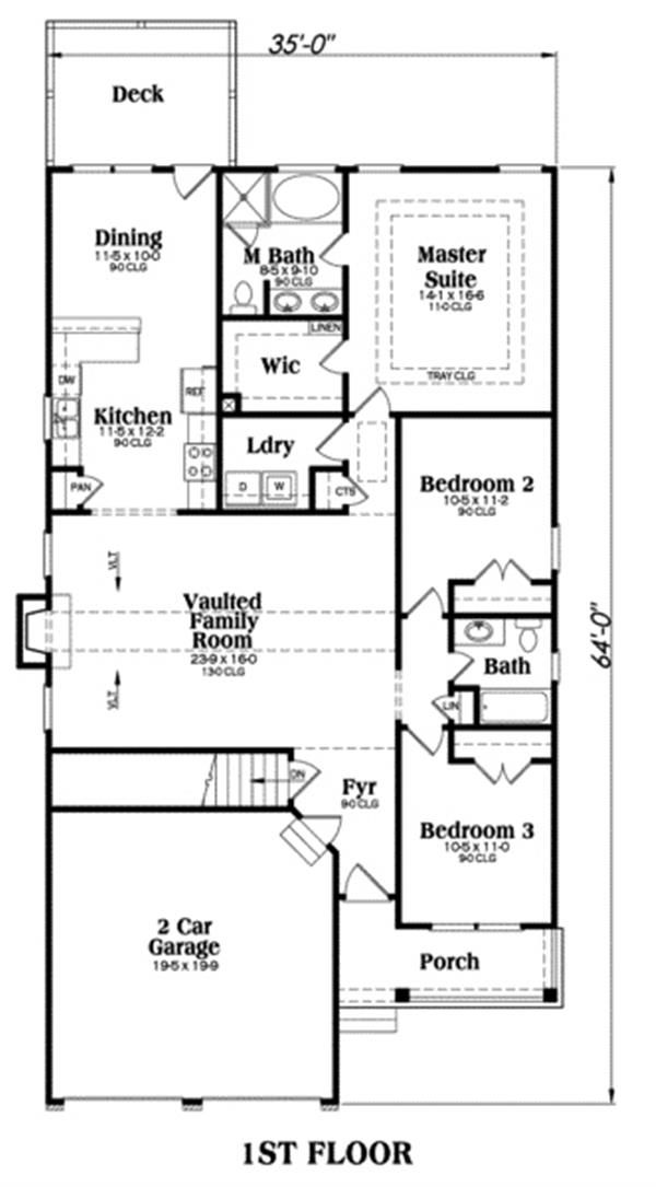Craftsman Home With 3 Bdrms, 1592 Sq Ft | Floor Plan #104 1098