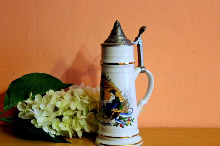 Large West German Beer Stein Heimatmelodie Pewter Lid, German Tankard by Grandchildattic on Etsy