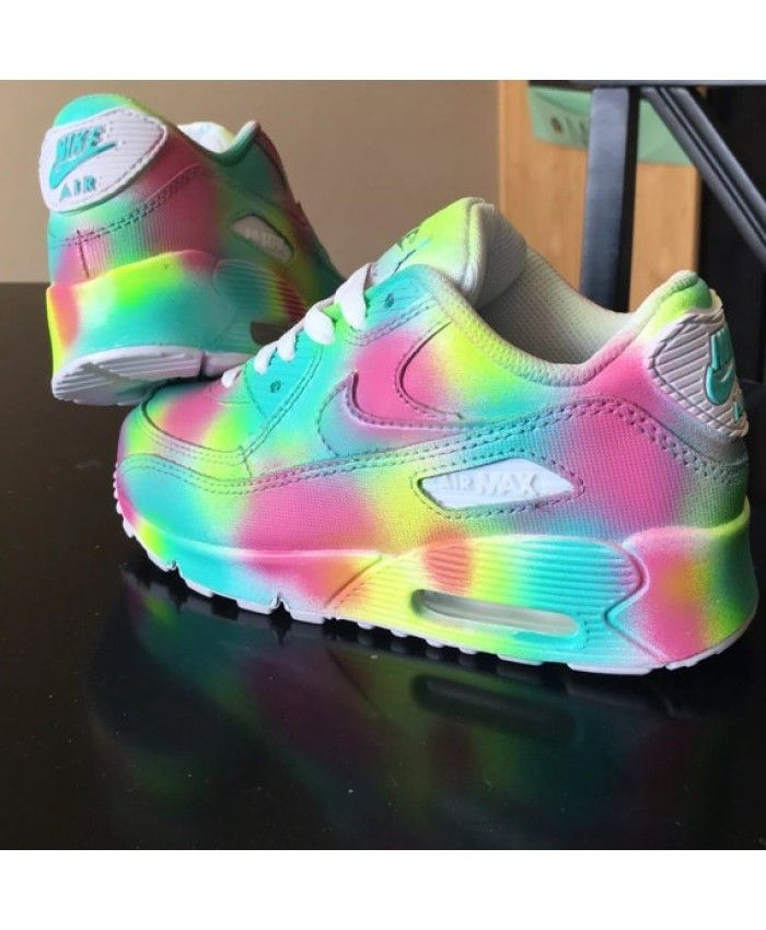 Nike Air Max 90 Aangepaste Regenboog Dames Sneakers Shoes All