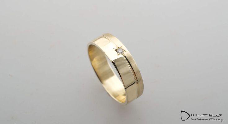 Geelgouden rouwring met diamant, 2 trouwringen omgesmolten tot een nieuwe ring