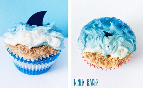 {Sommerzeit, Urlaubszeit} Strand, Ozean & Hai Cupcakes | niner bakes