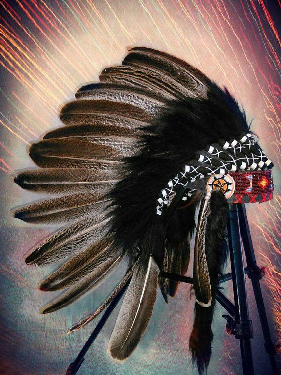 Small length turkey feather headdress Native by TheLandOfCockaigne
