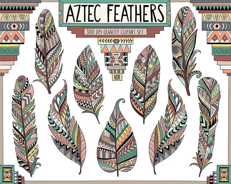 Aztekische Tribal Federn Clipart gemusterten von KennaSatoDesigns