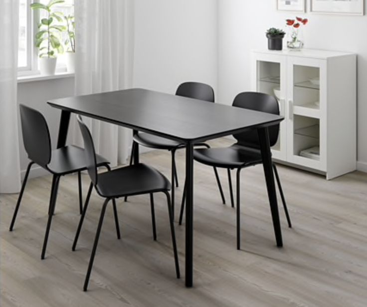 Ikea Lisabo Svenbertil Table And 4 Chairs Black Black In 2019