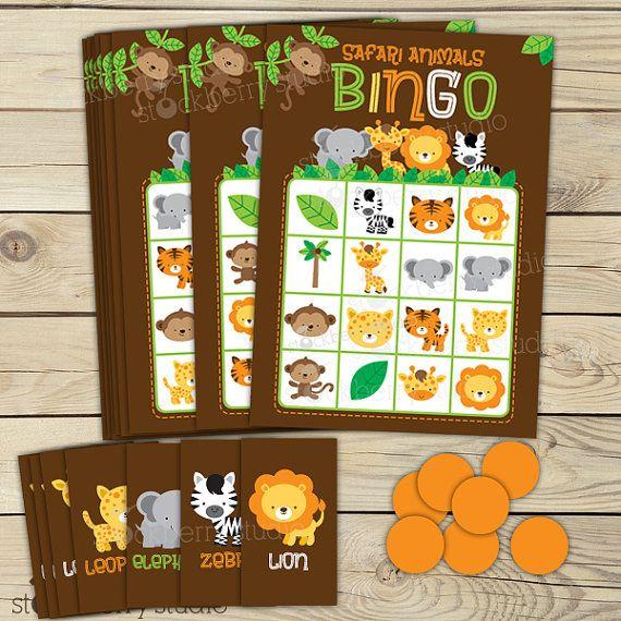 Juegos de juego de Bingo de Safari selva bebé ducha - fiesta de cumpleaños - descarga inmediata - Safari bebé ducha juegos de animales para imprimir - tarjetas de Bingo