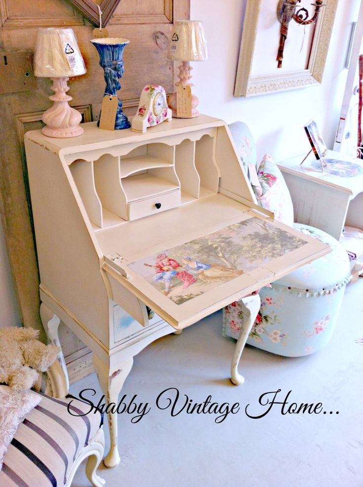 Shabby Vintage Home 1950s Queen Anne Style Solid Mahogany Writing Bureau Desk by MyVintageGirls on Etsy