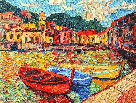 Italy Liguria Riviera - Cinque Terre - Colorful Boats In Vernazza by Ana Maria Edulescu