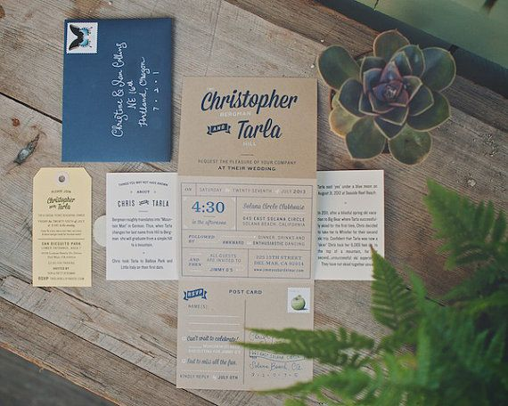 The Driftwood: Screen Printed Kraft Tri Fold Accordion Wedding Invitation  Suite