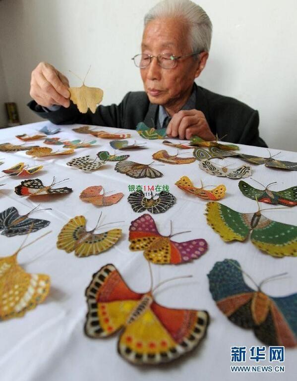 Más de 700 mariposas pintadas en hojas de ginkgo de Gu Houxin.