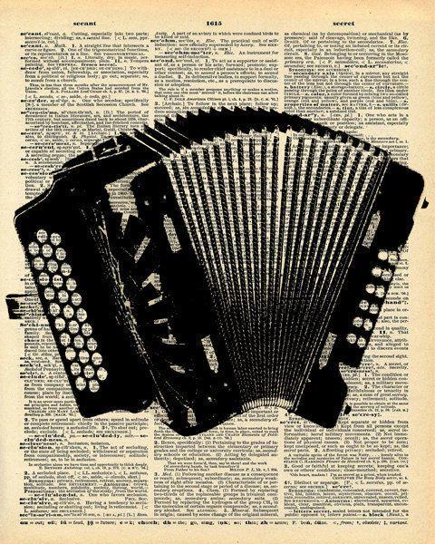 Dictionnaire Vintage impression - accordéon - Musique Folk Instrument - impression livre Antique recyclé - livre Antique