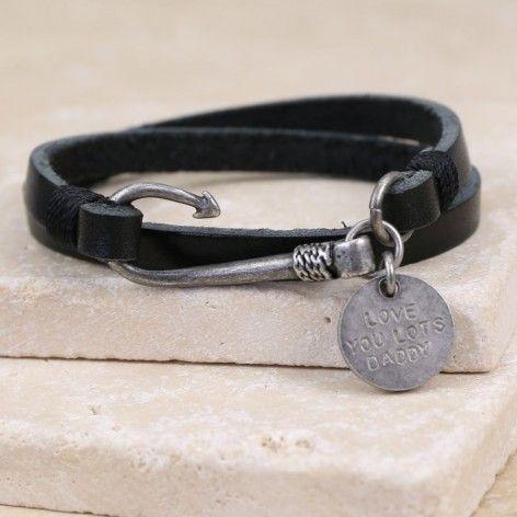 Personalised Men's Fish Hook Leather Wrap Bracelet