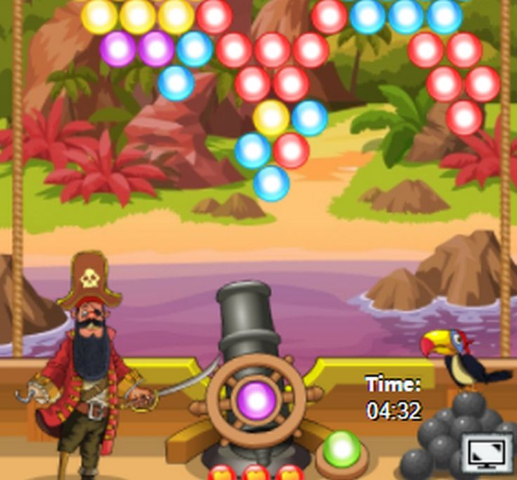 Shoot bubbles up and create a group of 3 or more of the same bubbles to remove them.