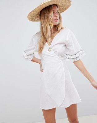 c736f8e933 DESIGN fringed trim wrap beach cover up | dresses | Fringe trim ...