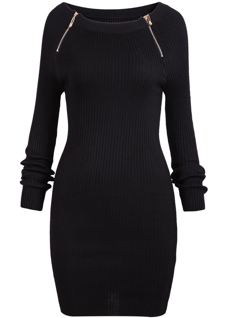 Black Long Sleeve Zipper Slim Dress $21.00