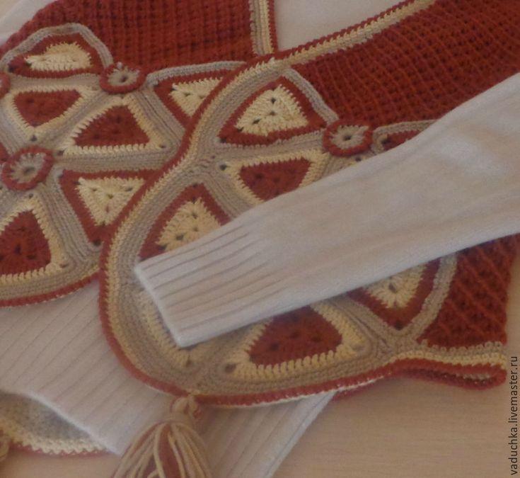 Купить Жилет СТИЛЬНАЯ ВЕСНА - комбинированный, кирпичный, бежевый, старина, Вязание крючком, вязание на заказ