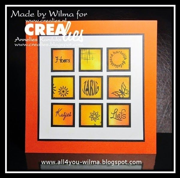 "Made by Wilma: https://www.crealies.nl/detail/1282597/15-05-11-wilma.htm & http://www.crealies.blogspot.nl/2015/05/for-someone-else.html Crealies items: Bits & Pieces no. 11 Sparkle Bits & Pieces no. 15 Butterflies 3 Bits & Pieces no. 19 Flowers 3 Bits & Pieces no. 20 Flowers 4 NL tekststempel ""Hoera"", ""hartlijk gefeliciteerd rond"", ""JARIG rond"", ""Kusjes"" en ""Liefs"""