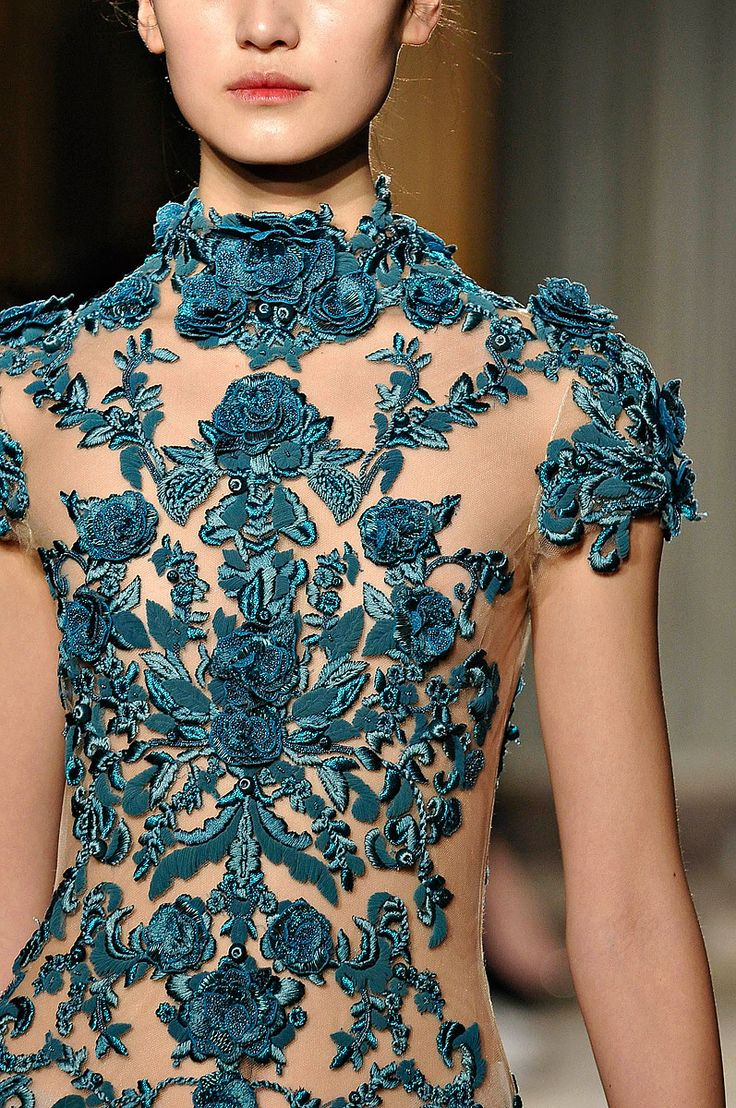 Marchesa Fall 2012 - Close up of incredible applique.