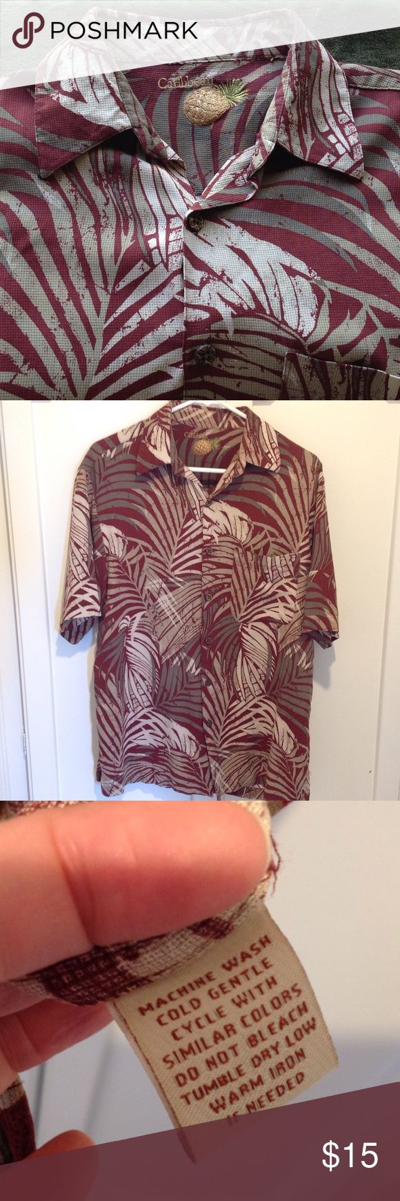 Caribbean shirt Great Print with leaves in warm colors, will go with any dress pant, or jeans or shorts! Perfect for that go to casual shirt. The size tag is cut out as my son can't stand any tags on his neck. Caribbean Shirts Casual Button Down Shirts