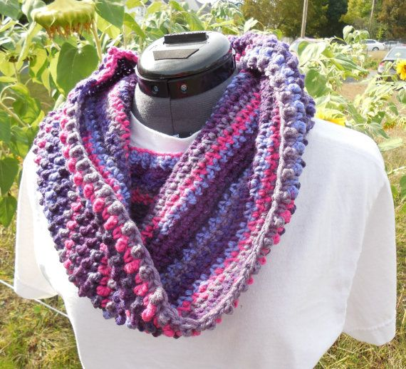 Textured Cowl Scarf Crochet Loop Neck Warmer Scarf by GabbysQuilts
