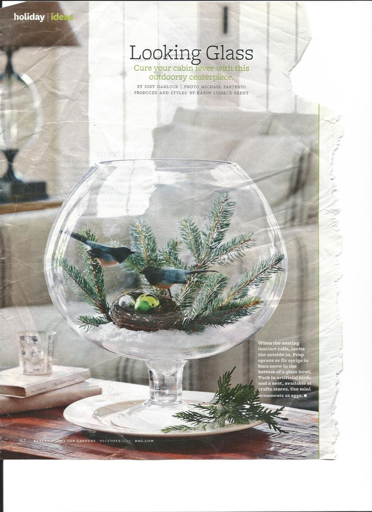 fish bowl centerpiece clipped from magazine