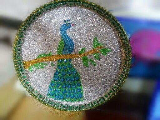 peacock glitter work