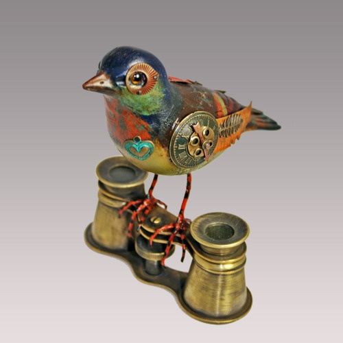 I first saw a bird like this in downtown Midland last year at the art store.  LOVED it but could not afford it.  I could probably make my own.  steampunk