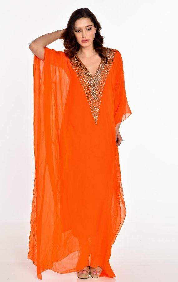 d381b42ba648 long kaftan dress BEACH caftan maxi dress in orange embroidered caftan wedding  dress abaya evening dress clothing gifts | beads and sequin | Long kaftan  ...