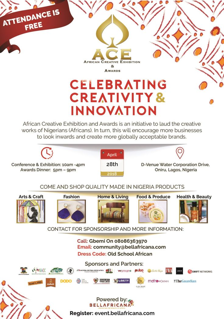 ACE Awards 2018 Flyer - creativity and innovation in Nation building, event, exhibition, made in Nigeria, Africa, Awards