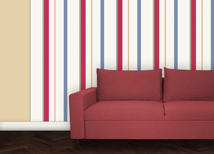 Mehrfarbige Streifen Passend Zu RAL Farben Diese Tapete Ist Angepasst An  Wandfarben Von RAL #bunt