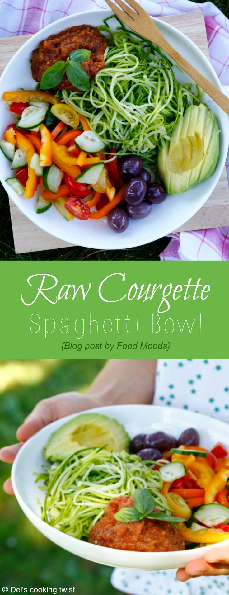 Heakthy Raw Courgette Spaghetti Bowl | Del's cooking twist