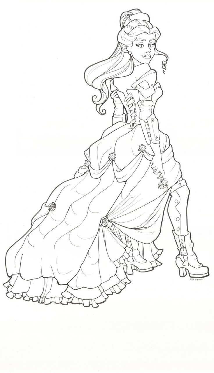 Steampunk Belle line drawing by khallion.deviantart.com on @deviantART