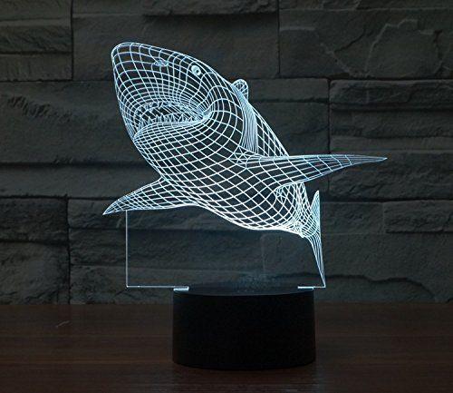 2016 New Creative Shark LED 3D Night Light Three-dimensio...