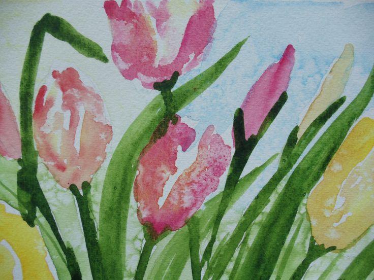 'Tulips' in Watercolour by Nancy Hunter Muskoka Artist