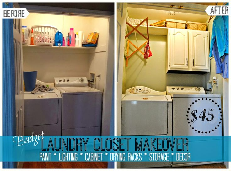 BUDGET Friendly Laundry Closet /Small Laundry Room Makeover (I Would Make  The Drying Rack Come Out The Other Way And Have A Shelf Under It.