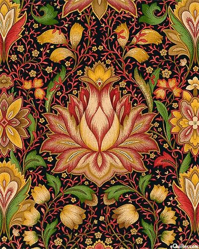 Nouveau tulip rhapsody-black (Timeless Treasures)