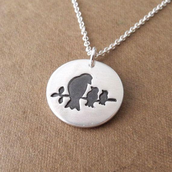 Moeder en twee Baby vogels ketting, nieuwe mama ketting, twee kinderen sieraden, fijn zilver, zilveren ketting, Made To Order