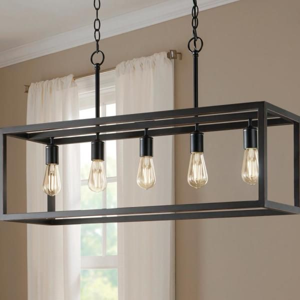 Home Decorators Collection Boswell Quarter 5 Light Distressed Black Island Chandelier 7965hdcdbdi The Home Depot In 2021 Dining Room Chandelier Modern Black Chandelier Dining Room Dining Light Fixtures