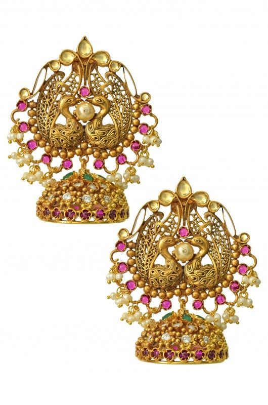 Silver Gold Plated Peacock Jhumka