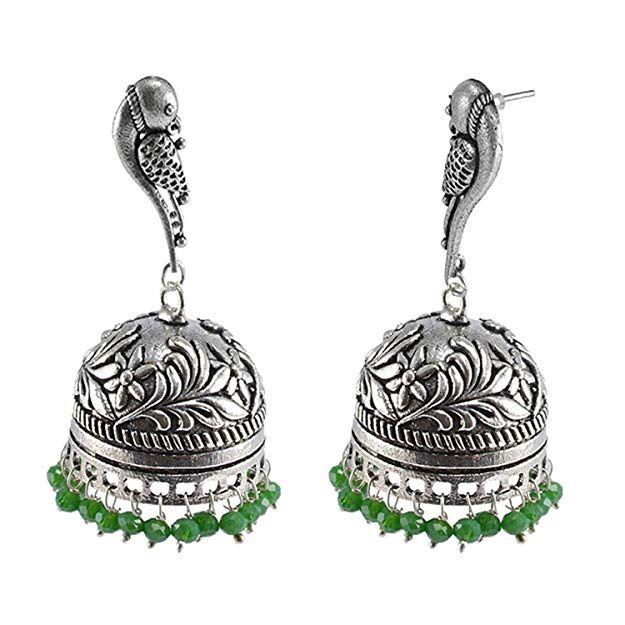 Silvesto India Oxidized Handmade Red Crystal 3 mm Jhumka Earrings-Jaipuri Jewelry PG-101280