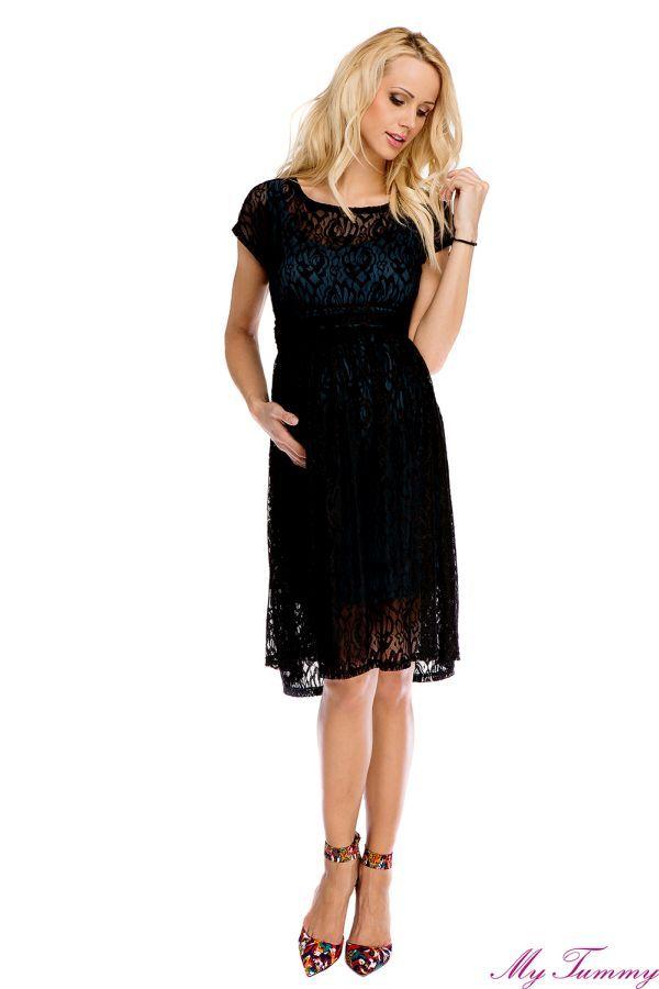 Sukienka ciążowa Scarlett koronkowa zielono-czarna