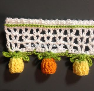 #Crochet #Tutorial for this adorable edging. Charming technique for making those little tulip shaped flowers at the edge. The white part of the band could be skipped and just the flowers added to the edge of a scarf, shawl or garment. Love it!
