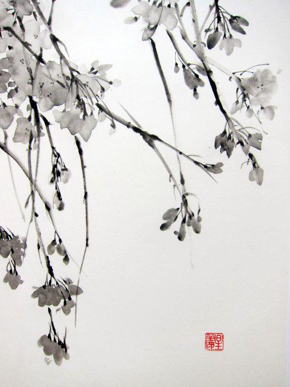 Encre, peinture art japonais art asiatique Suibokuga Sumi-e papier de riz, noir, Large « Sakura Tree » peint avec Sumi - encre sur le papier kozo avec fibres de mûrier. taille (pouces): 17 x 28 pouces taille (cm): 45 x 70 cm Montage : soutenu avec une deuxième couche de papier wenzhou. Sans cadre et revient Signé en bas à gauche avec le nom japonais personnelle de lartiste avec timbre rouge (hanko) Seirei 星麗. Jexpédie dans le monde entier. Des réductions de frais sappliquent lorsque vous ...