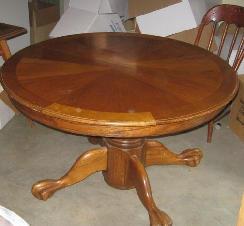 Elegant 48 Inch Round Oak Dining Table With Drop Leaf
