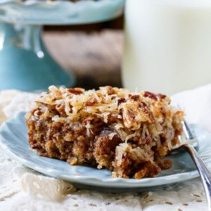 Old-fashioned Oatmeal Cake makes a delicious snack cake. It has oatmeal in the batter and a broiled coconut-pecan icing on top.