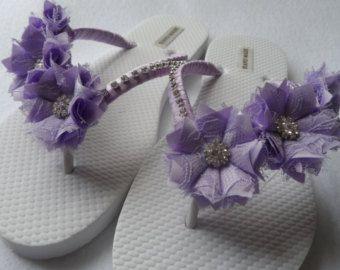 Cuña sandalias de novia blanco boda blanco Flip por RossyAccesorios