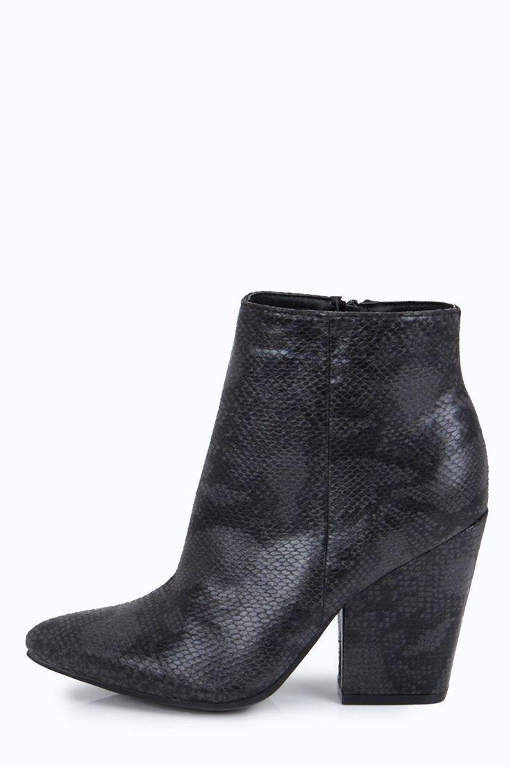 Eva Snake Print Pointed Block Heel Boots at boohoo.com